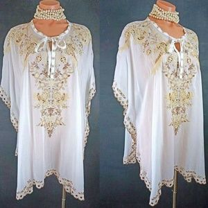 Johnny Was White Kaftan TOP S Beach Cover up BOHO